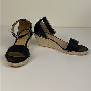 Talbots navy leather espadrille ankle wrap sandals
